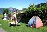Zelt und Trampolin